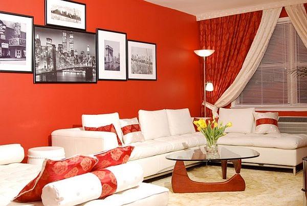 ruang tamu cerah merah